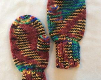 Children's hand knit mittens