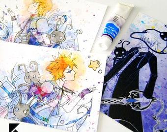 Kingdom Hearts Postcards, Sora, Roxas, Riku, Heartless Print Card
