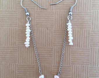 Long and delicate freshwater pearl drop earrings
