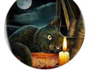 Keychain - Cat, Books, Candle, Full Moon: Silver or Bronze - 2.00 Shipping on any keychain purchase, Wicca, Pagan, Goddess, Witchcraft,