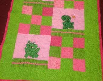 Pink and Green Frog Quilt
