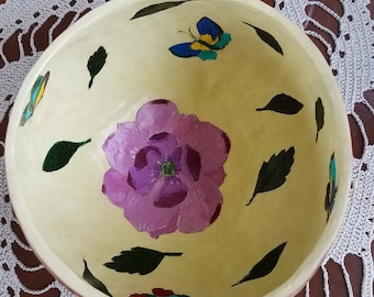Painted gourd flower bowl