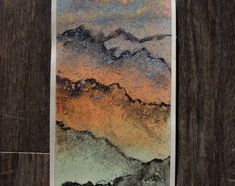 "Small Original Mixed Media Artwork On Paper - American Southwest Desert Landscape - ""Tucson, Arizona, Catalina Foothills At Dusk"""