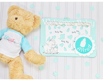 Elephant guest book, unique, mint, white, baby boy, personalised, guest book, hand drawn, handmade, baby welcome party