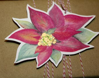 Christmas Poinsettia with gold leaf Gift Tag - 5 pack