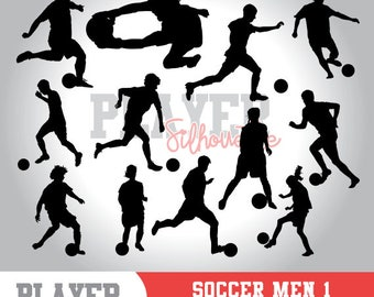 Soccer Men SVG, Soccer player svg, Soccer digital clipart, athlete silhouette, Soccer Men sport, cut file, design, A-015