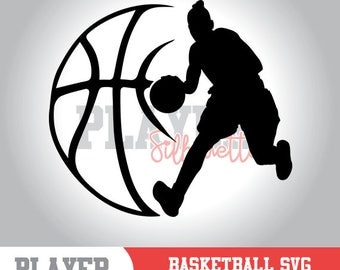 Basketball SVG, Basketball Player SVG, Woman Sport svg, Basketball Image digital clipart, Basketball silhouette, cut file, design, A-054