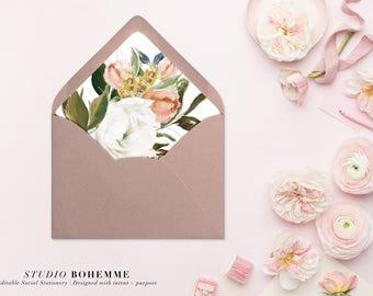 Printable Envelope Liner, Floral Liner, Envelope Liners, Envelope Liner Template, DIY Envelope Liner, INSTANT DOWNLOAD, 7 Sizes - Lauren