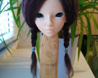 "lamb wig , Wig for Minifee, bjd ,MSD ,MNF, 7-8"" wig,Size 7-8"",natural lamb , minifee , wig minifee MSD"