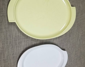 """Boonton Melmac Serving Platter with Handles-white 11"""" yellow 14.5"""