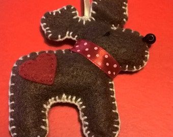 Decoration for Reindeer shaped Christmas tree in felt