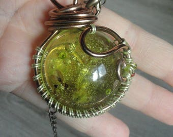 Pendant wire wrap - style fairy - great amulet - boho - lucky