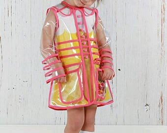 Stylish Transparent Girls' PVC Coat. Pink Trim. Clear Waterproof Raincoat. Free Shipping!!
