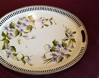 Hand Decorated Tole Tray by Pilgrim Art No. 155 Blue Flowers