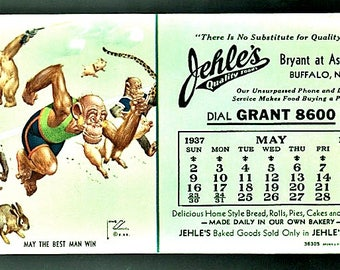 "LAWSON WOOD Monkey Art On BLOTTER 1937 Calendar for Jehle's Store in Buffalo New Unused ""May the Best Man Win"""