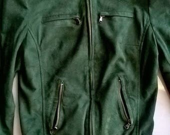 Green suede leather jacket Vanni Felix Handmade 2000