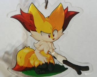 Pokemon - Curious Braixen {Clear Acrylic Charm}