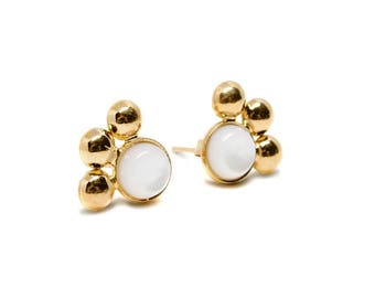 Earrings gilded with gold end 18 k with gemstones