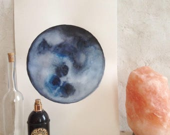 Hand painted watercolor Moon