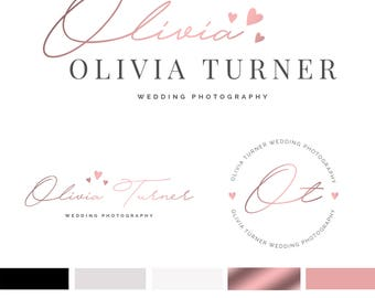 Wedding Branding Kit Template, Wedding Photography Logo, Wedding Photographer Logo, Rose Gold Logo, Premade Logo, Branding, INSTANT DOWNLOAD