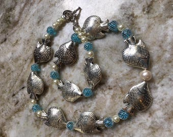 Silver Angel Fish Necklace