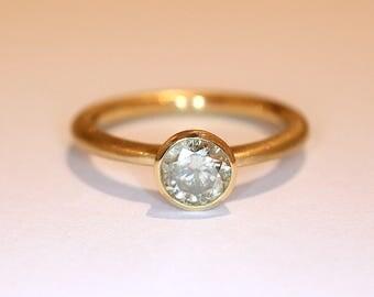 Gold 18k with diamond * Half carat * 5.5 mm 0, 6ct engagement wedding