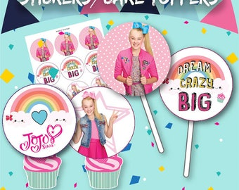 JoJo Siwa Cupcake Toppers, Instant Download, 12 Stickers/Cake Top per sheet, Party Bag, Sweet Cones Sticker, Party Bag, Cake Decoration