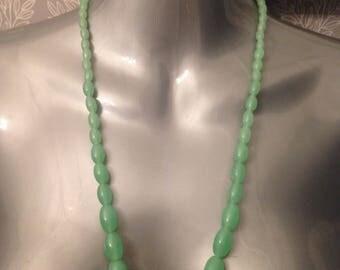 Green Jadeite Uranium Glass Beads Circa 1920's