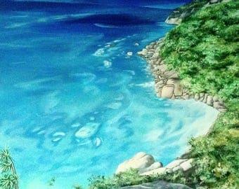 Mahe, Seychelles Acrylic Painting