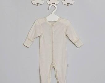 Newborn natural Merino wool playsuit with silk 612