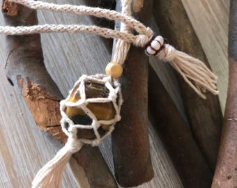 Natural Macrame Crystal Necklace with Tiger Eye