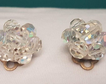 1950s Flower Crystal Clip On Earrings - Aurora Borealis- Shiny - Sparkly - Stunning