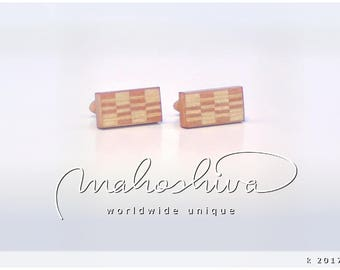 wooden cuff links wood flamed maple maple handmade unique exclusive limited jewelry - mahoshiva k 2017-46