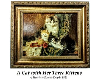 Vintage NEW A Cat & Her Three Kittens Art Print, Henriette Ronner Knipp, Cat Art, Kitten Art, Ornate Gold Wood Frame, Victorian Oil, Animal