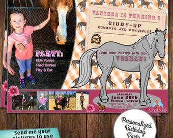 custom invitations, custom birthday party invites, cowgirl invitations, horse birthday invitations, pony invitations, party invitations