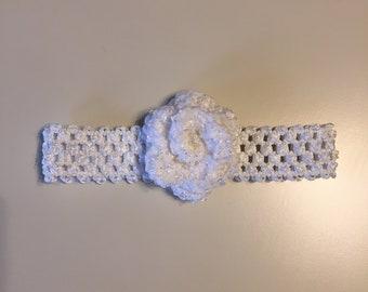 Handmade White Flower Baby Headband