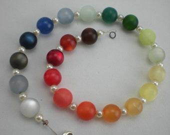Necklace Polaris Rainbow Perlmutmodeschmuckperle Syllable. Carabiner 42-52 cm S11