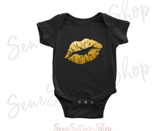 Lips GOLD - Baby Onesie - 10 Colors AVAILABLE Size: Newborn - 24M - Infant Jersey Bodysuit - Made in the USA