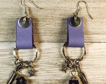 Leather, Leather earrings, Drop earrings, Lavender leather, Leather earrings with charms