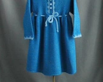 wool blend warm girl's dress| blue color| knitted dress