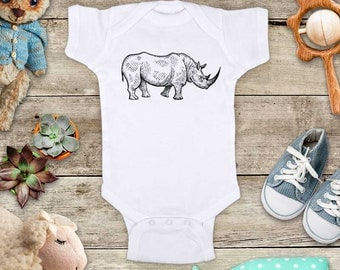 Rhino graphic rhinoceros - cute zoo animal funny Baby bodysuit or Toddler Shirt or Youth Shirt - cute birthday baby shower gift