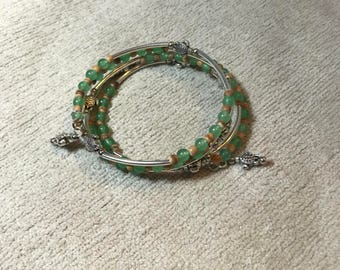 Sea Turtle Memory Wire Bracelet