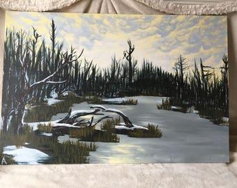 Frozen River Painting