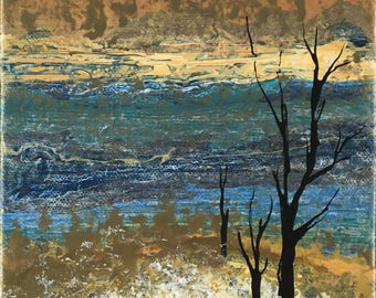 acrylic landscape with trees
