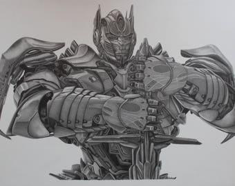 Optimus Prime Transformers A3 Print off Original Pencil Drawing Limited 25 copies