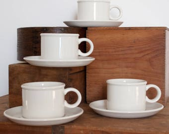Set of 4 White Ironstone Cups with Saucers- Midwinter England