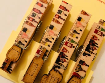 Drink/Alcohol themed magnetic pegs with wooden drinks embellishments