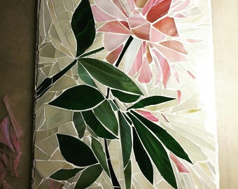Mosaic of stained glass on a mirror basis. Peony.