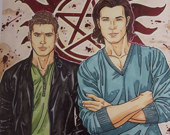 Supernatural Print 8.5x11 Winchester Brothers Cardstock Paper Crescent Lion Art