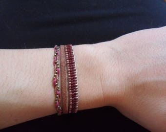 Handmade 3 row Bracelet: miyuki beads, leather and woven macrame string/wire copper